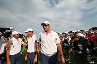 Nick Faldo walks off the 17th afrter loosing during the final round of Single Matches at The 37th Ryder cup from Valhalla Golf Club in Louisville, Kentucky....Photo: Fran Caffrey/www.golffile.ie.
