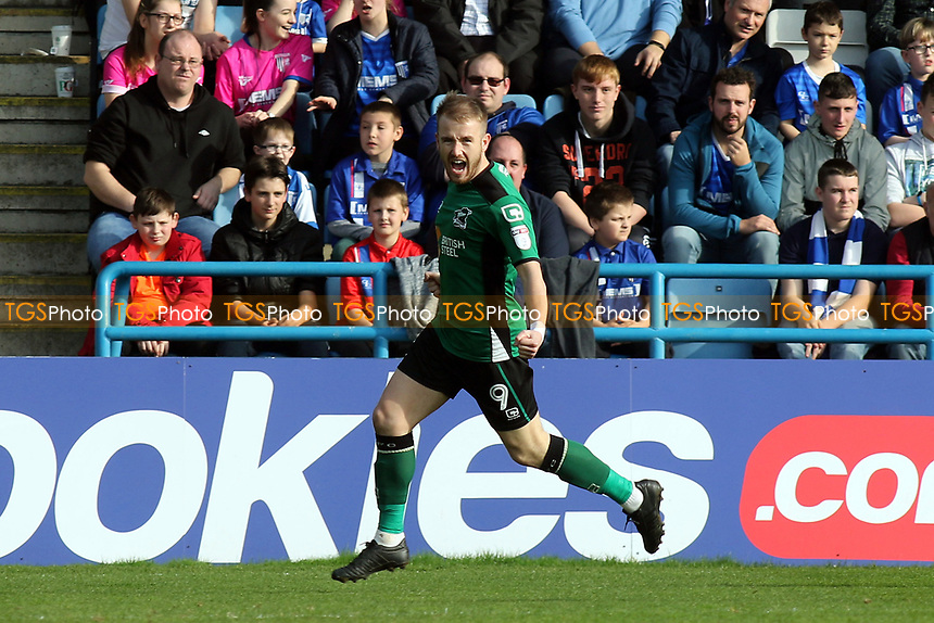 Paddy Madden celebrates scoring Scunthorpe's opening goal during Gillingham vs Scunthorpe United, Sky Bet EFL League 1 Football at the MEMS Priestfield Stadium on 11th March 2017