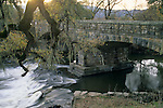 Old stone bridge across the Napa River in winter, near St. Helena Napa County, California