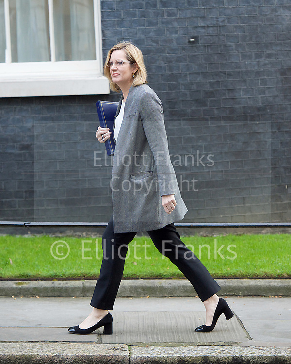 Cabinet Meeting <br /> 10 Downing Street London, Great Britain <br /> 29th March 2017 <br /> <br /> Ministers arrive for the final cabinet meeting ahead of triggering Article 50 today in The House of Commons. <br /> <br /> Amber Rudd MP<br /> Home secretary <br /> <br /> <br /> Photograph by Elliott Franks <br /> Image licensed to Elliott Franks Photography Services
