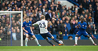 Christian Eriksen of Spurs scores his goal from distance late in the first half to equalise during the Premier League match between Chelsea and Tottenham Hotspur at Stamford Bridge, London, England on 1 April 2018. Photo by Andy Rowland.