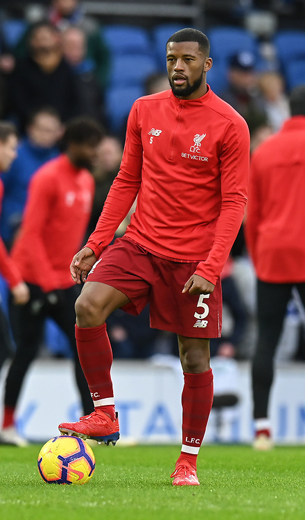 Liverpool's Georginio Wijnaldum during the prematch warmup<br /> <br /> <br /> Photographer David Horton/CameraSport<br /> <br /> The Premier League - Brighton and Hove Albion v Liverpool - Saturday 12th January 2019 - The Amex Stadium - Brighton<br /> <br /> World Copyright © 2018 CameraSport. All rights reserved. 43 Linden Ave. Countesthorpe. Leicester. England. LE8 5PG - Tel: +44 (0) 116 277 4147 - admin@camerasport.com - www.camerasport.com