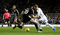 Leeds United's Ezgjan Alioski looks to run past Reading's Tiago Ilori<br /> <br /> Photographer Rich Linley/CameraSport<br /> <br /> The EFL Sky Bet Championship - Leeds United v Reading - Tuesday 27th November 2018 - Elland Road - Leeds<br /> <br /> World Copyright © 2018 CameraSport. All rights reserved. 43 Linden Ave. Countesthorpe. Leicester. England. LE8 5PG - Tel: +44 (0) 116 277 4147 - admin@camerasport.com - www.camerasport.com