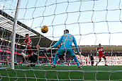5th November 2017, Riverside Stadium, Middlesbrough, England; EFL Championship football, Middlesbrough versus Sunderland; Marcus Tavernier of Middlesbrough scores past Robbin Ruiter of Sunderland in the 6th minute to win the game