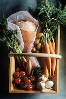 Gastronomie générale / Cuisine générale : Poitrine de veau farcie et braisée-ingrédients crus
