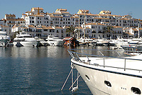 Marina, Puerto Banus, Marbella, Malaga Province, Spain. Luxury motor yachts. Luxury apartments, 200211011144.<br />