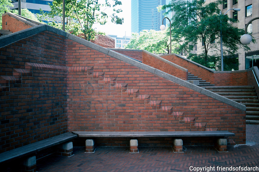 Seattle: New (Henry M. Jackson) Federal Building, 1974. Steps and terraces by Richard Haag, Landscape Architect.  Photo '86.