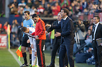 14.12.2013, Pamplona, Spain. La Liga football Osasuna  versus  Real Madrid.    Javier Gracia, Osasuna coach, during the game between Osasuna and Real Madrid  from the Estadio de El Sadar.