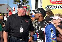 Mar. 17, 2013; Gainesville, FL, USA; NHRA top fuel dragster driver Antron Brown (right) with Toyota rep Don Brown during the Gatornationals at Auto-Plus Raceway at Gainesville. Mandatory Credit: Mark J. Rebilas-