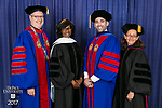 Left to right, the Rev. Dennis H. Holtschneider, C.M., president, Paulette Brown, honorary degree recipient and commencement speaker, Corey Celt, student speaker, and Jennifer Rosato Perea, dean of the College of Law. DePaul University College of Law held its commencement ceremony, Sunday, May 14, 2017, at the Rosemont Theatre in Rosemont, IL, where some 240 students received their Juris Doctors or Master of Laws degrees. (DePaul University/Jeff Carrion)