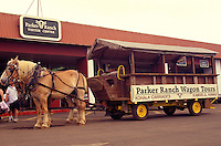 Horse drawn tour wagon in front of the Parker Ranch visitor center in Waimea (Kamuela), Big Island