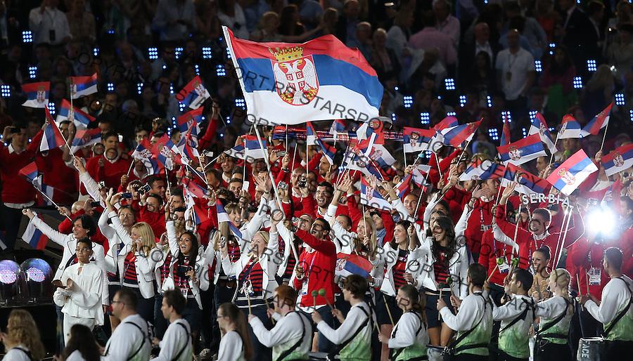Olympic games London 2012.Opening ceremony.Olimpijski tim Srbije Olympic team of Serbia.Novak Djokovic nosi zastavu Srbije with flag of Serbia.London, 27.07.2012..foto: Srdjan Stevanovic/Starsportphoto ©
