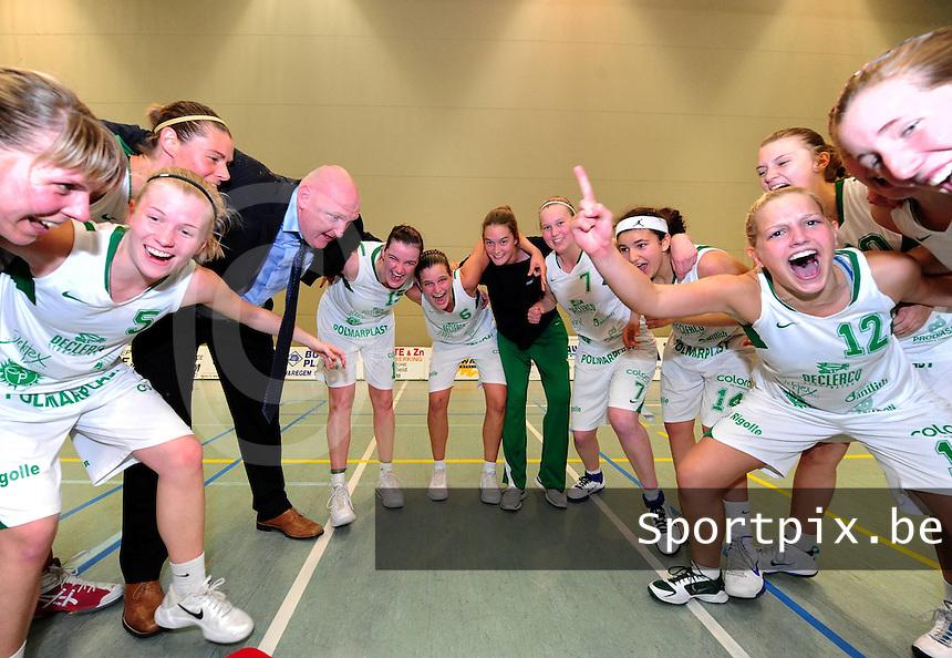 Dames Basket Waregem - Sint-Katelijne-Waver : Waregem Kampioen : vreugde bij Waregem na de match.foto VDB / BART VANDENBROUCKE
