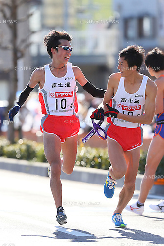 (L to R) .Sota Hoshi (Fujitsu), .Hidehito Takamine (Fujitsu), .JANUARY 1, 2013 - Athletics : .New Year Ekiden 2013 .57th All Japan Industrial Ekiden Race .Ota Relay place.Start & Goal at Gunma Prefecture Goverment, Gunma, Japan. .(Photo by YUTAKA/AFLO SPORT) [1040]