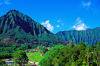 View of the H3 freeway in Kaneohe with mountains in background