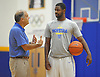 Hofstra University No. 2 Ameen Tanksley, right, chats with head coach Joe Mihalich during an informal men's basketball team workout at the team's practice facility on Wednesday, July 22, 2015.<br /> <br /> James Escher