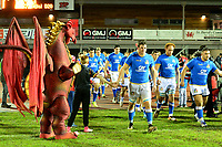 The Italy U20's players run out to the pitch<br /> <br /> Photographer Richard Martin-Roberts/CameraSport<br /> <br /> Six Nations U20 Championship Round 4 - Wales U20s v Italy U20s - Friday 9th March 2018 - Parc Eirias, Colwyn Bay, North Wales<br /> <br /> World Copyright &not;&copy; 2018 CameraSport. All rights reserved. 43 Linden Ave. Countesthorpe. Leicester. England. LE8 5PG - Tel: +44 (0) 116 277 4147 - admin@camerasport.com - www.camerasport.com