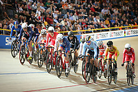Picture by SWpix.com - 02/03/2018 - Cycling - 2018 UCI Track Cycling World Championships, Day 3 - Omnisport, Apeldoorn, Netherlands - Women's Omnium Elimination Race - Start of the Race Elinor Barker of Great Britain