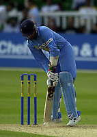 .24/06/2002.Sport - Cricket - .One day game 50 overs - Kent CC vs India.St Lawrence Ground - Canterbury.Harbhajan Singh digs the yorker out (ball under the bat).