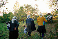 ROMANIA / Maramures / Sarbi / October 2006..Women on their way home after a day spent harvesting potatoes...© Davin Ellicson / Anzenberger