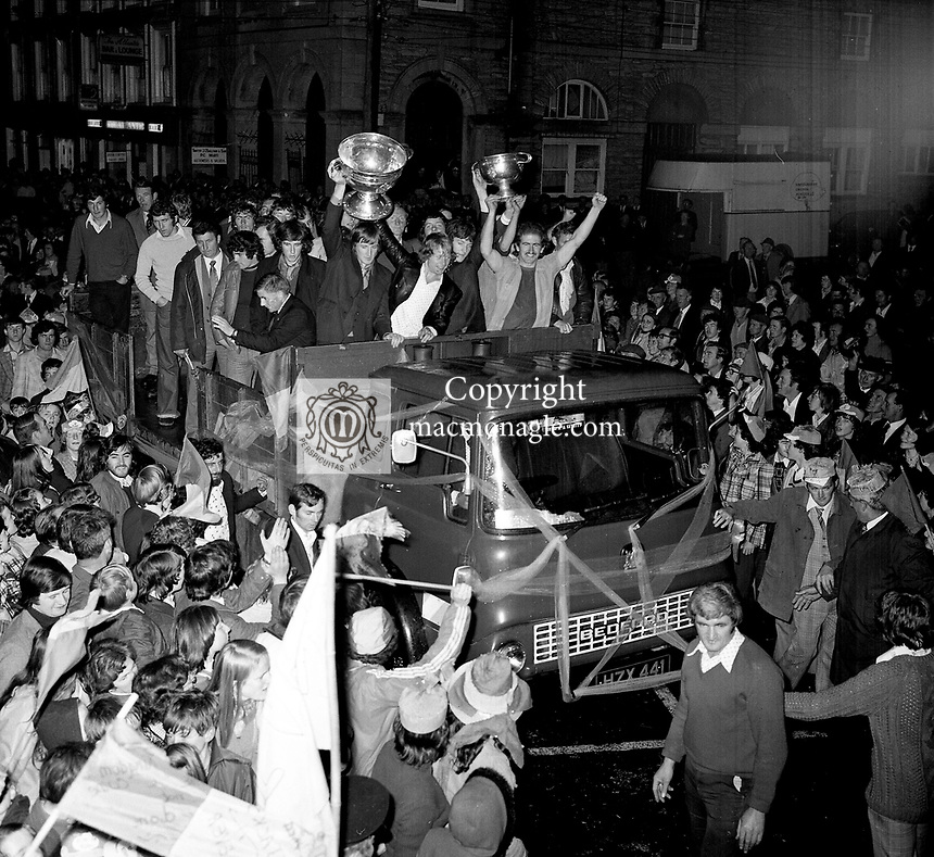 Kerry V Dublin 1975<br /> Kerry captain Mickey ned O'Sullivan at the team homecoming in his native Kenmare following victory  over Dublin in 1975.<br /> <br />  &copy; Kevin Coleman 087 2579891