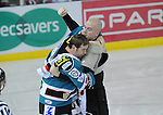 Doug Maclver and Brad Cruikshank fight moments after the start of the first period. Cardiff Devils V Sheffield Steelers Cardiff Bay Arena. © Steve Pope Sportingwales The Manor Coldra Woods Newport South Wales NP18 1HQ 07798 830089 01633 410450 steve@sportingwales.com www.fotowales.com www.sportingwales.com