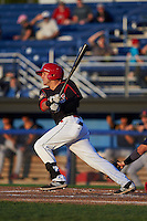Batavia Muckdogs second baseman Alex Fernandez (46) at bat aduring a game against the State College Spikes August 22, 2015 at Dwyer Stadium in Batavia, New York.  State College defeated Batavia 5-3.  (Mike Janes/Four Seam Images)