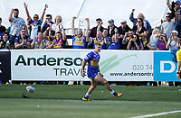 Ash Handley celebrates his try for Leeds during London Broncos vs Leeds Rhinos, Betfred Super League Rugby League at Trailfinders Sports Club on 1st September 2019