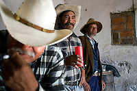Tlachequeros (field laborers) at the Tinacal (center for fermenting pulque) Don Juan Arragon in the village of Altzayanla. Pulque route Tlaxcala, Mexico June 6, 2007