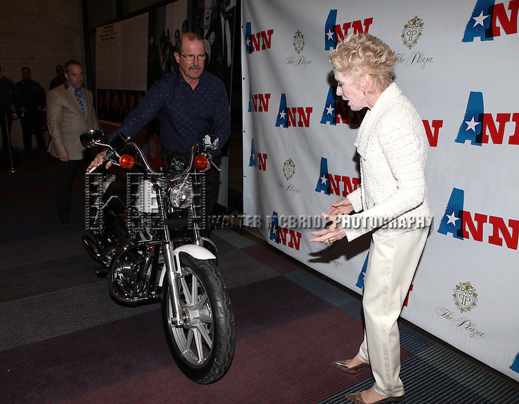 Holland Taylor with Ann Richards Motorcycle  attending the Opening Night Performance Press Reception for 'Ann' (Ann Richards)  at the Vivian Beaumont Theatre in New York City on 3/7/2013