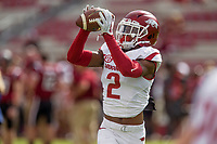 Hawgs Illustrated/BEN GOFF <br /> Chase Hayden catches a pass in warmups before taking on South Carolina Saturday, Oct. 7, 2017, at Williams-Brice Stadium in Columbia, S.C.