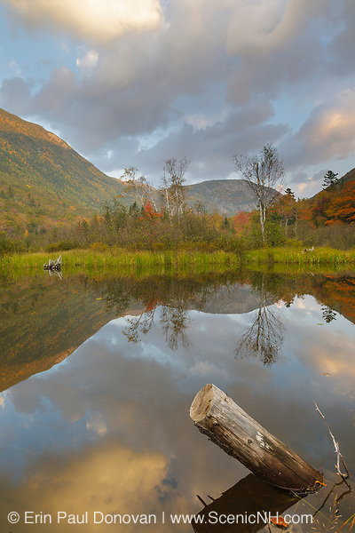 Crawford Notch State Park - Reflection of Mount Willard in the Willey Pond at the Willey House Historical Site in the White Mountains, New Hampshire USA during the autumn months