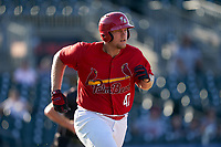 Palm Beach Cardinals Luken Baker (47) runs to first base during a Florida State League game against the Clearwater Threshers on August 10, 2019 at Roger Dean Chevrolet Stadium in Jupiter, Florida.  Clearwater defeated Palm Beach 11-4.  (Mike Janes/Four Seam Images)