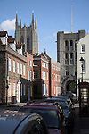 Saint Edmundsbury cathedral, Bury St Edmunds, Suffolk, England.  The Cathedral and the Norman tower of St James set amongst nearby houses, Bury St Edmunds, Suffolk, England