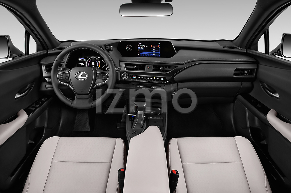 Stock photo of straight dashboard view of 2019 Lexus UX 200 5 Door SUV Dashboard