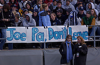 15 November 2003:  The Penn State student section shows their support for coach Joe Paterno during the final home game of the season.  Penn State defeated Indiana 52-7  at Beaver Stadium in State College, PA....