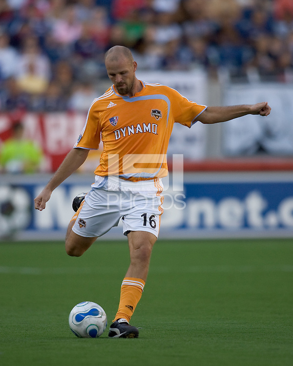 Houston Dynamo (16) Craig Waibel. The New England Revolution and the Houston Dynamo played to a 3-3 tie in an MLS regular season match at Gillette Stadium, Foxbourgh, MA, on July 22, 2007.