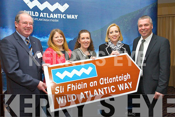 John Griffin (Kerry County Council) with Martina Canty (Client Services Officer Fáilte Ireland) Siobhán King (Client Services Officer Fáilte Ireland) Suzanne Trehy (Client Services Officer Fáilte Ireland) and Declan Murphy (Client Services Officer Fáilte Ireland) pictured at the launch of the Wild Atlantic Way held in the Carlton hotel on Thursday night last.
