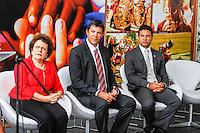 SAO PAULO, SP, 11 JANEIRO 2013 - POSSE SECRETARIO DIREITO HUMANOS - Prefeito de Sao Paulo Fernando Haddad (c ) durante cerimônia de posse do secretário Rogério Sotilli  que assume o lugar de Jose Gregorio como Presidente da Comissão de Direitos Humanos do Município de São Paulo. A cerimonia realizada na manha desta sexta-feira(11) no jardim interno do Pátio do Colégio na Rua Bela Vista regiao central de Sao Paulo. (FOTO: AMAURI NEHN / BRAZIL PHOTO PRESS).