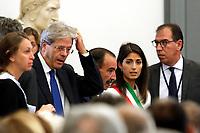 Paolo Gentiloni e Virginia Raggi<br /> Roma 28/09/2017. Campidoglio. Terza Conferenza nazionale sulla famiglia<br /> Rome September 28th 2017. 'Third Conference about Family'<br /> Foto Samantha Zucchi Insidefoto
