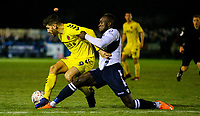 Fleetwood Town's Ched Evans shields the ball from Guiseley's Cliff Moyo<br /> <br /> Photographer Alex Dodd/CameraSport<br /> <br /> The Emirates FA Cup Second Round - Guiseley v Fleetwood Town - Monday 3rd December 2018 - Nethermoor Park - Guiseley<br />  <br /> World Copyright © 2018 CameraSport. All rights reserved. 43 Linden Ave. Countesthorpe. Leicester. England. LE8 5PG - Tel: +44 (0) 116 277 4147 - admin@camerasport.com - www.camerasport.com