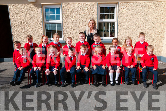 M/s Sinead O'Connor's junior infants class at Scoil Mhuire gan Smal, Lixnaw on their first day in school.