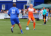 June 17th 2017, Gander Green Lane, Sutton, England; Football Charity Match; Chelsea Legends versus Rangers Legends; Rangers Colin Hendry takes on Chelsea's Paul Canoville as he brings the ball forward