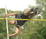 The Gazette Derick Rouse of Bowie High School leaps in the Pol Vault during the Prince George's County Track and Field Championships on Saturday afternoon at Henry A. Wise High School in Upper Marlboro. Rouse placed second in the event.