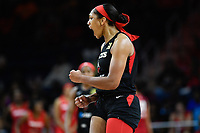 Washington, DC - July 13, 2019: Las Vegas Aces center A'ja Wilson (22) is fired up after scoring a big basket as time ticks down late in the 4th quarter of game between Las Vegas Aces and Washington Mystics at the Entertainment & Sports Arena in Washington, DC. The Aces defeated the Mystics 81-85. (Photo by Phil Peters/Media Images International)