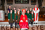 Gael Scoil, Listowel pupils who were confirmed in St. Mary's Church, Listowel on Friday last by Bishop Ray Browne.<br /> Front Row: Left to Right: Aoife N&iacute; Ghrif&iacute;n, Aimee N&iacute; Ghrif&iacute;n,Labhaoise N&iacute; Shuilleabh&aacute;in Murch&uacute;, Bishop Ray Browne, Aoibhinn N&iacute; Mhuireasa and Ella N&iacute; Hann&aacute;in.<br /> <br /> Back row: Left to Right: M&uacute;inteoir Catherine N&iacute; Mhuircheartaigh, Aoife de Staic, Dylan Reali, Darragh &Oacute; Maolmhich&iacute;l and Dylan &Oacute; Muircheartaigh &amp; Canon Declan O'Connor.