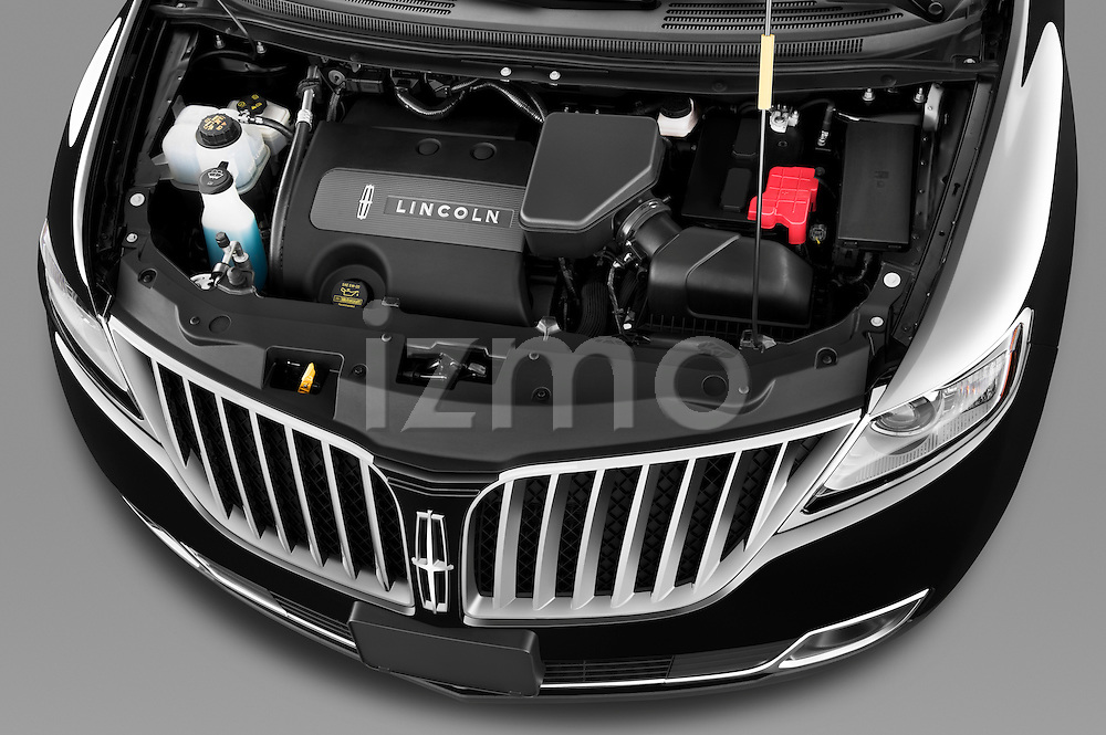 High angle engine detail of a 2011 Lincoln MKX .