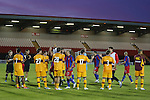 Motherwell form a gaurd of homour and applaud Steaua off the park at the end