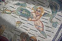 Cupids & dolphin Roman mosaic, room 24, at the Villa Romana del Casale, Sicily ,  circa the first quarter of the 4th century AD. Sicily, Italy. A UNESCO World Heritage Site.