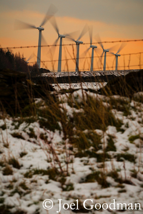 © Joel Goodman . 01/02/2012 . Penistone , UK . The Royd Moor Wind Farm, in South Yorkshire, which overlooks the town of Penistone and consists of thirteen 500 kW turbines. Photo credit : Joel Goodman